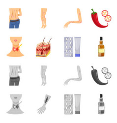 Design medical and pain icon collection vector