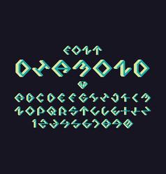 Diamond green font alphabet vector
