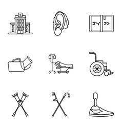 Disabled icons set outline style vector image