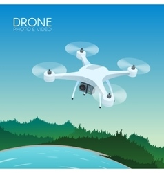 Drone with remote control flying over nature vector image