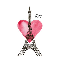 Eiffel tower and heart paris vector