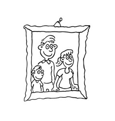 family photo on frame outlined cartoon hand drawn vector image