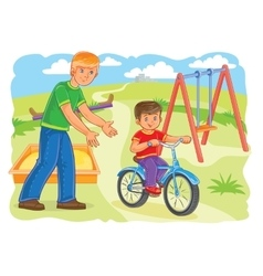 Father teaches to ride a bike little boy vector image
