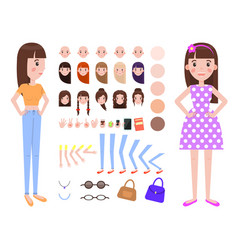 Female and construction set vector