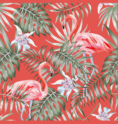 Flamingo palm leaves living coral background vector