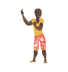 Flat african man dancing at beach party vector