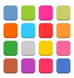Flat blank web icon color rounded square button vector image