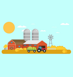 flat design crop farm rural landscape background vector image