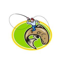 Fly Fisherman Riding Trout Fish Cartoon vector image