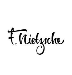 Friedrich wilhelm nietzsche logo lettering vector