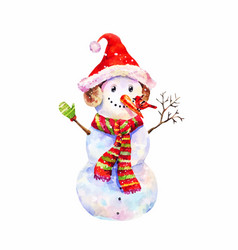 funny snowman in christmas hat and red-green vector image