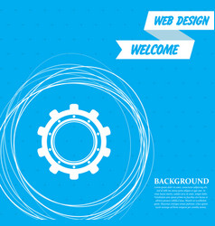 gear cog icon on a blue background with abstract vector image