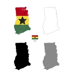 Ghana country black silhouette and with flag on vector