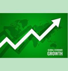 Global economi growth upward arrow green vector