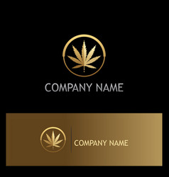 gold marijuana leaf cannabis logo vector image