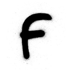 graffiti small fat f font sprayed in black over vector image