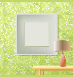 green leaf spring printed wallpaper with frame for vector image vector image