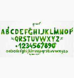 Green watercolor alphabet vector