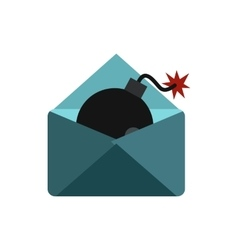 Hacking e-mail icon flat style vector