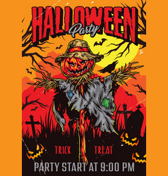 Halloween party colorful vintage poster vector