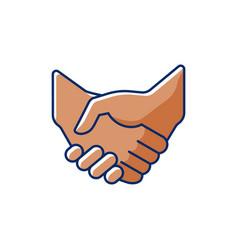 handshake rgb color icon vector image