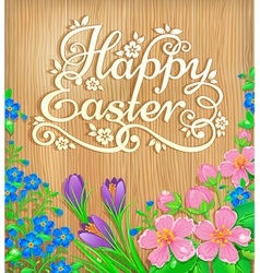 Happy Easter flowers wooden banner vector image vector image