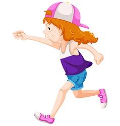 Happy girl with cap running vector