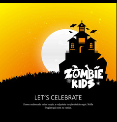 happy halloween zombie party invitation card vector image