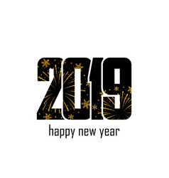 Happy new year card black number 2019 with gold vector