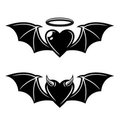 heart with wings angelic and demonic styles vector image