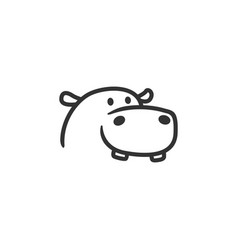 hippo logo line outline mascot character vector image