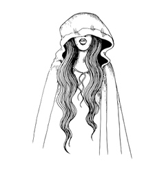 Ink pen of a girl in hood vector