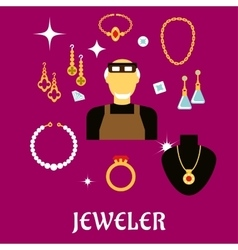 Jeweler or goldsmith with jewelries flat style vector image vector image