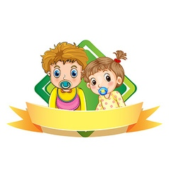 Label design with two babies vector