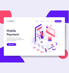 landing page template of mobile payment concept vector image