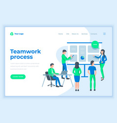 landing page template teamwork process concept vector image