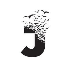 Letter j with effect destruction dispersion vector