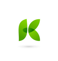 letter k eco leaves logo icon design template vector image