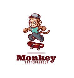 Logo monkey skateboarder mascot cartoon style vector