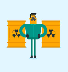Man in radiation protective suit and respirator vector