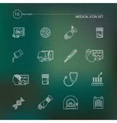 Medical tests icons outline vector image