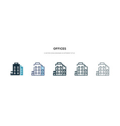 Offices icon in different style two colored and vector