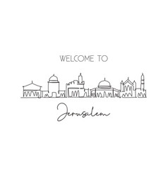 one continuous line drawing jerusalem holy city vector image