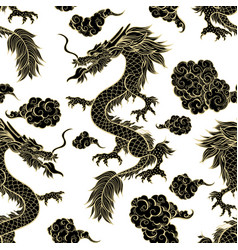 Oriental black dragon flying in clouds seamless vector