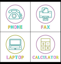 phone and fax machine icons vector image