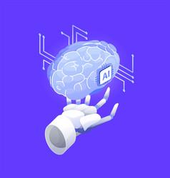 robotic hand holding brain artificial vector image