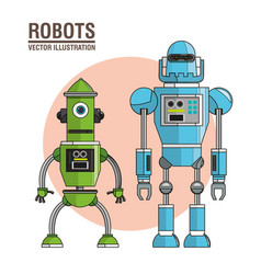 Robots machinery technology image vector