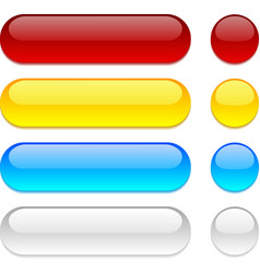 Rounded buttons on white background vector
