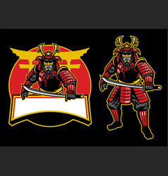 samurai warrior mascot set vector image