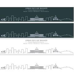 San juan single line skyline banner vector